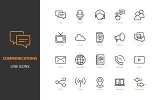 uppsättning kommunikation tunn linje ikoner vektor