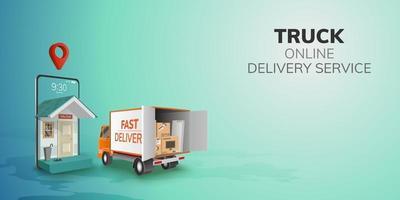 digitale Online-globale logistische LKW-Lieferwagenlieferung auf Handy-Website-Hintergrundkonzept