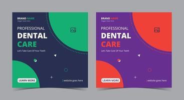 Zahnpflege-Poster, zahnärztlicher Social-Media-Beitrag und Flyer vektor