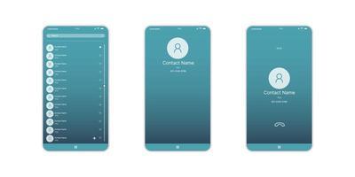 Mobile Contact UI-, UX-, GUI-Bildschirm- und Flat-Web-Symbole für mobile Apps. Kontaktinformationen, Bildschirm für mobile Anrufe, Kontaktlayout für Mobiltelefone vektor