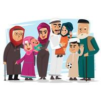 grupp muslimsk familj vektor
