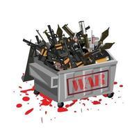 Kriegswaffen im Müll mit Blut. Kriegsbegriff stoppen. vektor