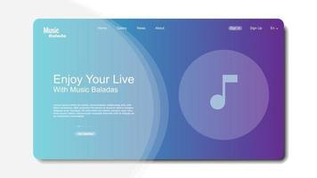 Landingpage-Vorlage für Musik. Musikvorlage für Website-Seite. vektor