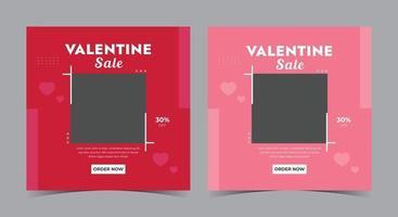 valentine försäljning affisch, valentine sociala medier post och flygblad vektor