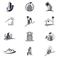 fastigheter, konstruktion professionell ikonuppsättning 12 bunt design