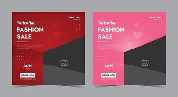särskild valentine försäljning affisch, valentine sociala medier post och flygblad vektor