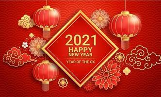 kinesiska nyåret 2021 papperslyktor och blomma på gratulationskortbakgrund oxens år. vektor illustrationer.