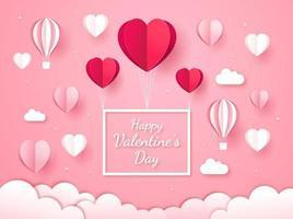 Valentinstag Karte Papierschnitt Stil Hintergrund. vektor