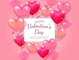 Alla hjärtans dagskort med hjärta 3d och bandbakgrund. vektor