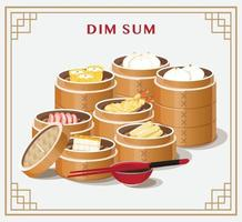 Dim Sum Menü Set asiatische Lebensmittel Vektor-Illustration vektor