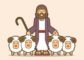 Jesus är min herde tecknad grafisk vektor