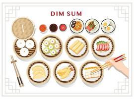 dim sum meny uppsättning asiatisk mat vektorillustration vektor