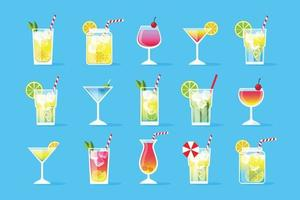 Cocktails setzen Menü, flache bunte Vektorillustration, lokalisiert auf blauem Hintergrund vektor