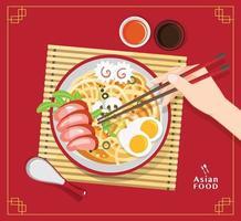traditionelle chinesische Suppe mit Nudeln, Nudelsuppe in chinesischer Schüssel asiatische Lebensmittelvektorillustration vektor
