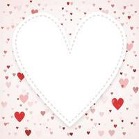 Alla hjärtans dagskort med kopieringsutrymme i mitten. hjärta konfetti faller över rosa konceptet bakgrund för gratulationskort, bröllopsinbjudan.