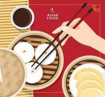 Dim Sum Illustration Vektor von chinesischem Essen, asiatisches Essen Dim Sum im Dampfer