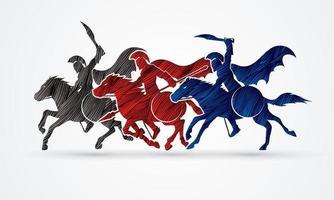 spartanische Krieger reiten auf Pferden vektor