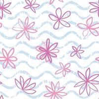 sömlös vågmönster med blommor. snyggt ritad blommig bakgrund. abstrakt texturerad vågig prydnad. vektor