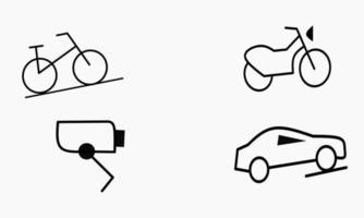 Sammlung von Fahrzeug- und Technologie-Symbolikonen-Vektorillustration vektor
