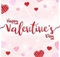 glad alla hjärtans dag gratulationskort bakgrund och rosa kärlek part inbjudan mall. kalligrafi ord med hjärtan. vektor