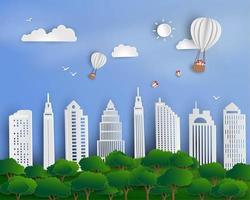 Heißluftballons mit Geschenkbox, die über städtischer Stadtlandschaft schweben vektor