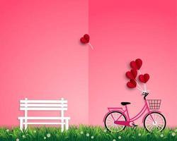 glad Alla hjärtans dag med röda ballonger som flyger över trädgården vektor