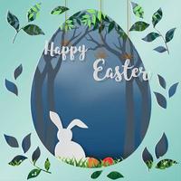 glad påsk design med vit kanin i skogen vektor