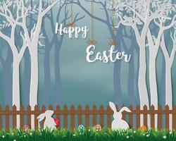 glad påsk med söta kaniner och färgglada ägg vektor