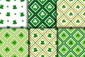Sammlung von nahtlosen Mustern von st.patrick's day vektor