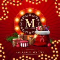 Frohe Weihnachten, rote quadratische Postkarte mit Weihnachtsmann-Tasche mit Geschenken. Grußkarte mit rundem Logo mit Glühbirnen