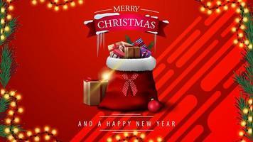 Frohe Weihnachten und ein gutes neues Jahr, rote Grußkarte mit Girlandenrahmen und rotem Oldtimer, der Weihnachtsbaum trägt