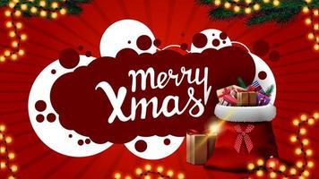 Frohe Weihnachten, rote Grußkarte mit Girlande, Weihnachtsbaumzweige und Weihnachtsmann-Tasche mit Geschenken