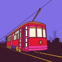 Straßenbahn-Kanal-Linie auf Kanal-Straßen-Illustration