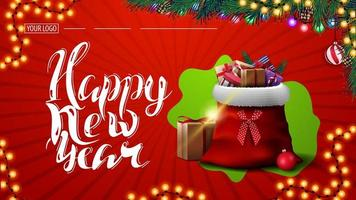 Frohes neues Jahr, rote Postkarte mit Girlande, Weihnachtsbaumzweigen und Weihnachtsmann-Tasche mit Geschenken