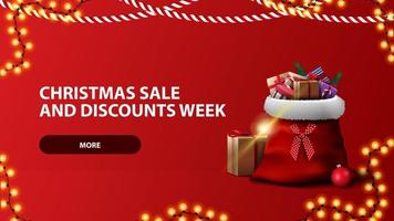 julförsäljning och rabattvecka, röd horisontell banner med knapp, krans och jultomtenpåse vektor