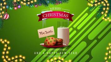 grüne Weihnachtsgrußkarte mit Keksen mit einem Glas Milch für Weihnachtsmann, Girlanden und Weihnachtsbaum