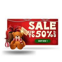 Weihnachtsrot 3d Rabattbanner mit Geschenk mit Teddybär lokalisiert auf weißem Hintergrund vektor