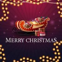 Frohe Weihnachten, lila quadratische Grußkarte mit Weihnachtsschlitten mit Geschenken