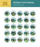 Outdoor und Camping gefüllt Gliederung Symbol sel. Vektor und Illustration.