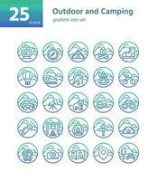 Outdoor- und Camping-Farbverlaufsymbol sel. Vektor und Illustration.