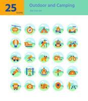 Outdoor- und Campingwohnung icon sel. Vektor und Illustration.