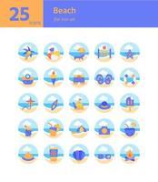 strand platt ikonuppsättning. vektor och illustration.
