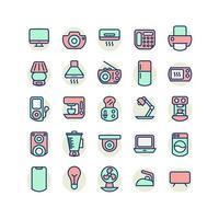 Elektrogerät gefüllt Gliederung Icon Set. Vektor und Illustration.