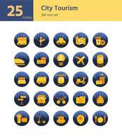 Stadttourismus flache Ikone gesetzt. Vektor und Illustration.