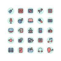 Musik und Sound gefüllt Umriss Icon Set. Vektor und Illustration.
