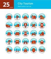 Stadttourismus gefüllt Gliederung Icon Set. Vektor und Illustration.