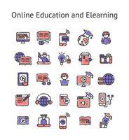 onlineutbildning och elearning fylld dispositionsikonuppsättning. vektor