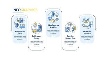 Infografik-Vorlage für Technologie-Suchtpräventionsvektor