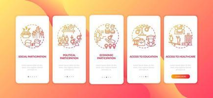 Kriterien für geschlechtsspezifische Unterschiede beim Onboarding des Bildschirms der mobilen App-Seite mit Konzepten
