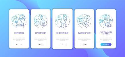 Kopf Trauma blauen Farbverlauf Onboarding Mobile App Seite Bildschirm mit Konzepten